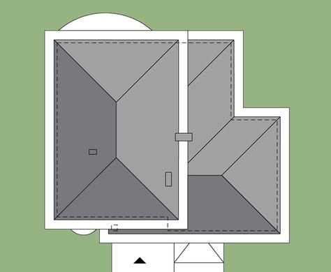 Схема оригинального двухэтажного жилого дома с полукруглыми балконами и террасами