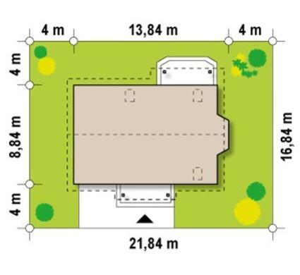 Проект коттеджа со встроенным гаражом, эркером и балконом