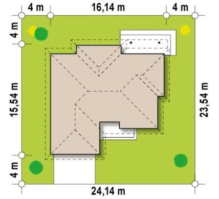 Проект одноэтажного коттеджа с гаражом для двух авто