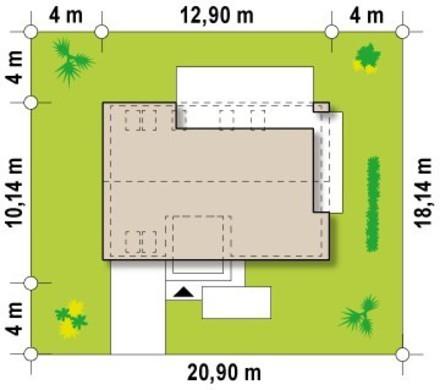 Проект современного светлого коттеджа с гаражом и двускатной крышей