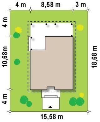 Проект дома с большой крытой террасой