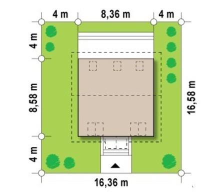 Проект аккуратного домика в классическом стиле с двускатной крышей