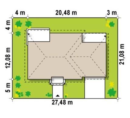 Проект одноэтажного дома с гаражом в классическом стиле для двух автомобилей