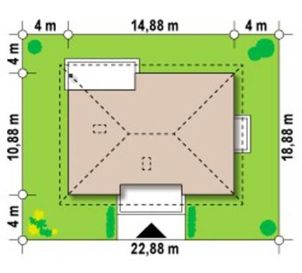 Проект одноэтажного дома классического стиля с четырехскатной крышей