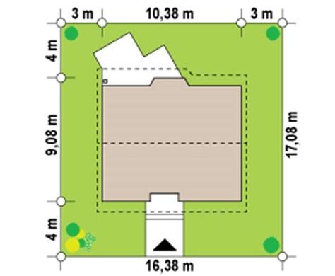 Проект небольшого уютного дачного дома с двухскатной крышей