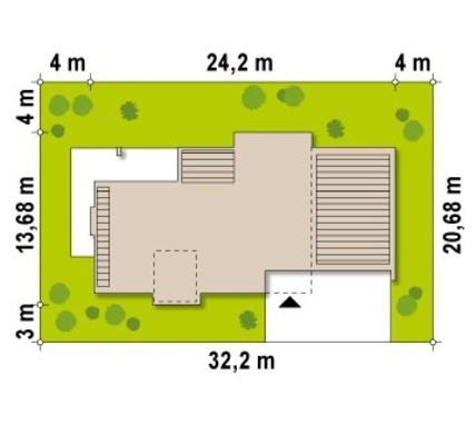 Проект современного коттеджа с просторной террасой над гаражом