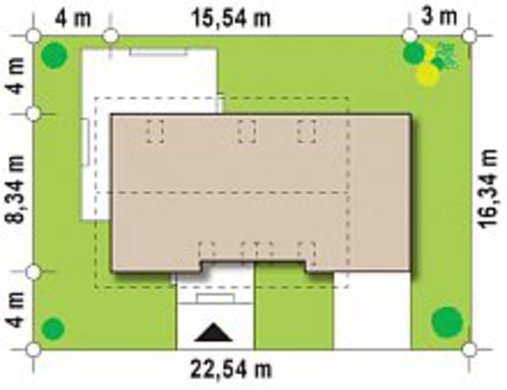 Проект дома с мансардой по типу 4M258 с гаражом на одну машину