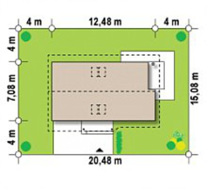 Проект популярного летнего дома 4M480 гаражом пристроенным слева