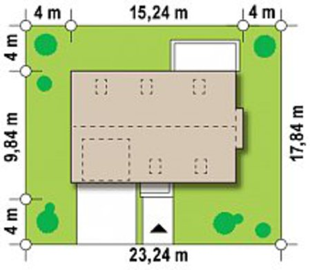Уменьшенный вариант проекта современного дома с мансардой 4M648