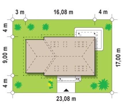 Проект загородного коттеджа с угловым окном на кухне