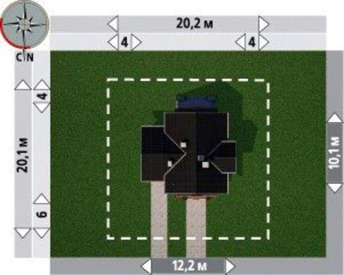 Архитектурный проект усадьбы 200 m² с гаражом на 1 авто