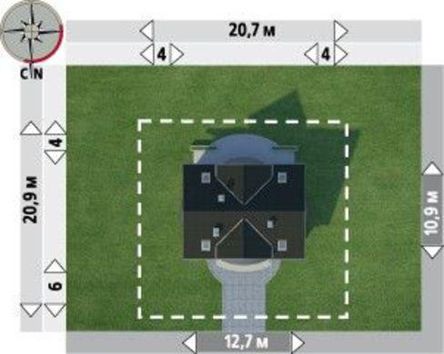 Архитектурный проект красивого загородного коттеджа с полукруглыми эркерами