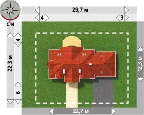 Проект огромного загородного коттеджа с гаражом на два автомобиля