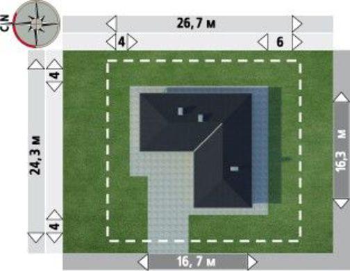 Загородный дом в форме буквы Г