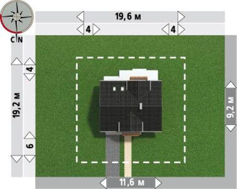 Готовый проект коттеджа 180 m² с мансардой и гаражом на 1 машину