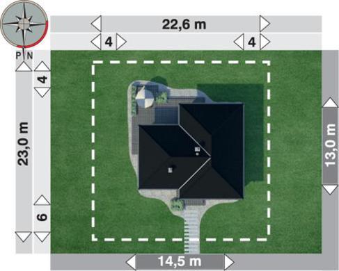 1 этажный дом Т-образной формы