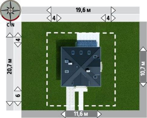 Проект строительства уютного дома с эркером с многоскатной крышей
