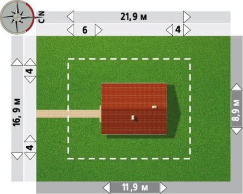 Дом прямоугольной формы 12м на 9м
