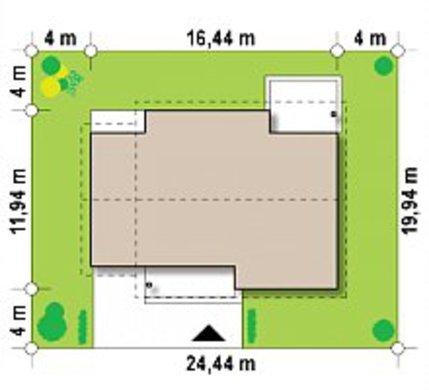 Проект одноэтажного коттеджа с предусмотренной мансардой